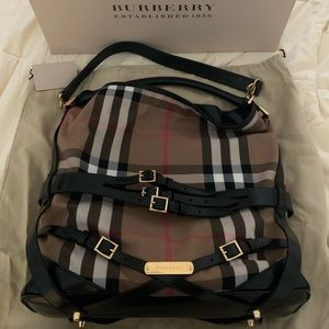 Burberry Gosford Bridle House Check Canvas Leather